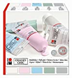 Marabu 261000000087 - Chalky Chic Kreidefarbe Set, Vintage Style, Shabby Chic, Landhausstil, Deckkraft, wetterfest für innen und außen, 5 x 100 ml Tuben