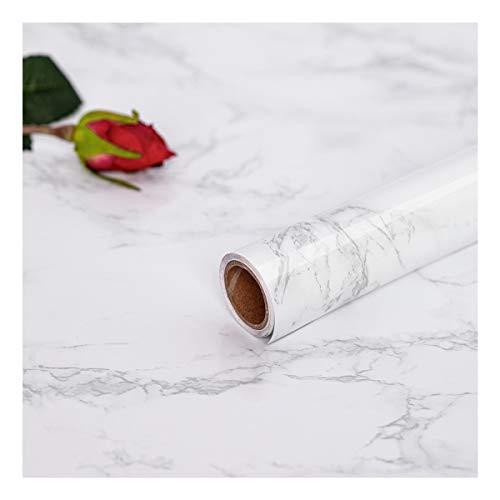 Hode Marmor Folie Selbstklebende Möbelfolie Klebefolie für Möbel Arbeitsplatte Couchtisch Bad PVC Wasserdicht Marmor Weiß 44.5X200 cm