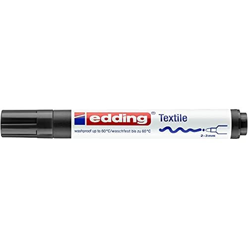 edding 4500 Textilmarker - schwarz - 1 Stift - Rundspitze 2-3 mm - Textilstifte waschmaschinenfest (60 °C) zum Stoff bemalen - Stoffmalstift