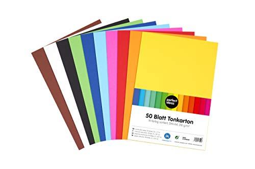 perfect ideaz 50 Blatt DIN-A4 Ton-Karton bunt, Bastel-Papier, Bogen durchgefärbt, 10 verschiedene Farben, 210g /m², Foto-Zeichen-Pappe zum Basteln, buntes Blätter-Set farbig, DIY-Bedarf