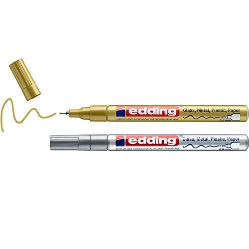 edding 780 Glanzlackmarker - gold, silber - Packung mit 2 Lackmarkern - extra-feine Rundspitze 0,8 mm - Lackstift für Glas, Stein, Holz, Kunststoff und Papier - wasserfest, stark deckend, sehr dünn