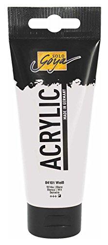 Kreul 84101 - Solo Goya Acrylic, 100 ml Tube in weiß, cremige vielseitig einsetzbare Acrylfarbe in Studienqualität, auf Wasserbasis, schnell und matt trocknend, gut deckend, wasserfest