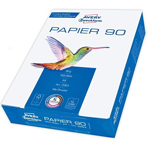 Avery Zweckform 2563 Drucker-/Kopierpapier (500 Blatt, 90 g/m², DIN A4 Papier, hochweiß, für alle Drucker) 1 Pack
