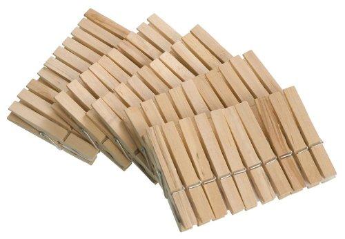 WENKO Wäscheklammern aus FSC® zertifiziertem Echtholz 50-teilig - 50-teilig aus FSC® zertifiziertem Echtholz, Holz, 1 x 7 x 1 cm, Braun