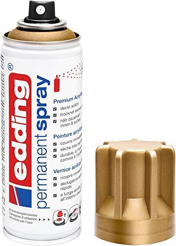 edding 5200 Permanent Spray - reichgold matt - 200 ml - Acryllack zum Lackieren und Dekorieren von Glas, Metall, Holz, Keramik, Kunststoff, Leinwand - Lackspray, Acrylspray, Farbspray