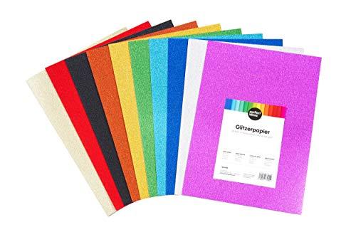 perfect ideaz 30 Blatt DIN-A4 Glitzer-Papier bunt, Glitter Bastel-Bogen, 10 verschiedene Farben, 160 g/m², Ton-Zeichen-Pappe zum Basteln, buntes Blätter-Set farbig, DIY-Bedarf