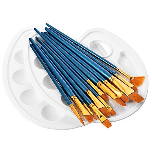 ATMOKO 12 Künstlerpinsel, 2 Mischpalette, Premium Nylon Aquarell, Acryl & Ölgemälde usw. Perfektes Pinsel Set für Anfänger, Kinder, Künstler und Gemälde Liebhaber, Holz, Blau, 4 Side Belts