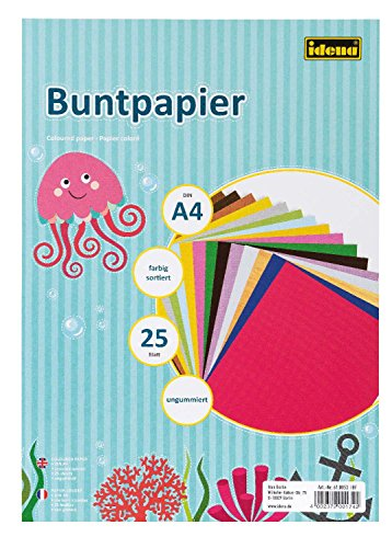Idena 610053 - Buntpapier, DIN A4, ungummiert, farbig sortiert, 25 Blatt