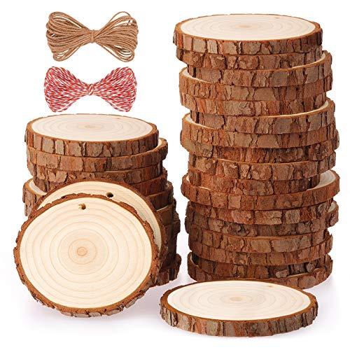 Fuyit Holzscheiben 30 Stücke Holz Log Scheiben 6-7cm mit Loch Unvollendete Holzkreise für DIY Handwerk Holz-Scheiben Hochzeit Mittelstücke Weihnach