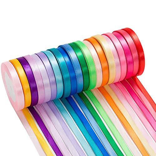 Sunwuun 25 Meters Weihnachtsbänder Ripsband Dekoband Schleifenband Satinband Geschenkband für Weihnachten Geschenkverpackung Hochzeit Weihnachtsdekoration Party und Geburtstag (20 Pack Ribbon)