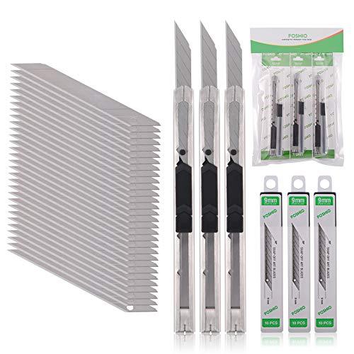 FOSHIO 3 Stück Cuttermesser 9mm mit 30 pcs 30° Abbrechklingen, Cuttermesser Profi, Cutter klingen für Folien, Papier, Basteln und Tapete, Cuttermesser Klein