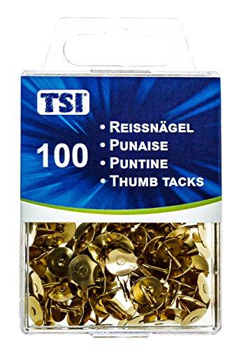 TSI 48078 Reißnägel, 100er Packung, goldfarben 100 Stück