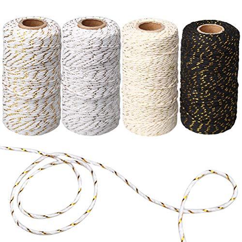 Zhiye 400 Meter Faden / Schnur, Dekoration für Geschenkanhänger Geschenkpapier, 4 Rollen, Schwarz, Weiß, Gold und Silber, aus Baumwolle