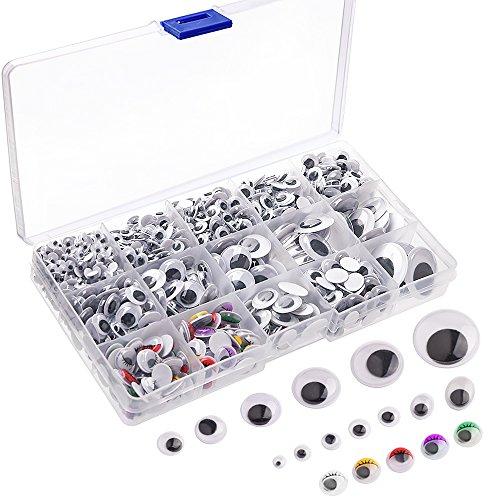 KUUQA 1200 Stücke Kunststoff Selbstklebend Puppe Augen Wiggle Glubschaugen Wackelaugen für DIY Scrapbooking Handwerk Spielzeug Zubehör (Verschiedene Größen)