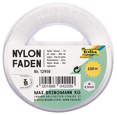 folia 12950 - Nylonfaden auf Spule, transparent, ca. 0,5 mm x 100 m, Tragkraft 7,5 kg, kaum sichtbarer Faden ideal für Mobiles, Schmuck, zur Dekoration usw.
