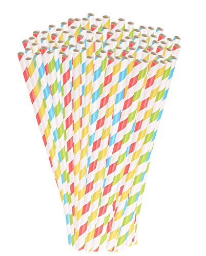 PEARL Papierstrohhalme: 100 Retro Papier-Trinkhalme in 4 Farben, gestreift, lebensmittelecht (Strohhalme Papier)