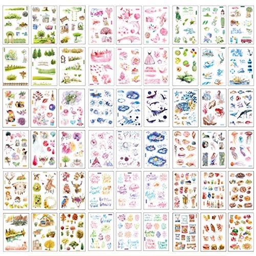 54 Blatt Scrapbooking Aufkleber in Verschiedene Muster Meer Tierform Deko Sticker Blumen Blätter Aufkleber für Scrapbook Kalender Notizbuch Tagebuch Fotoalbum DIY Dekoration