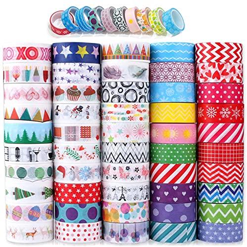 Buluri Washi Tape,50 Rolls Washi Masking Tape Dekorative Klebeband für Scrapbooking DIY Handwerk