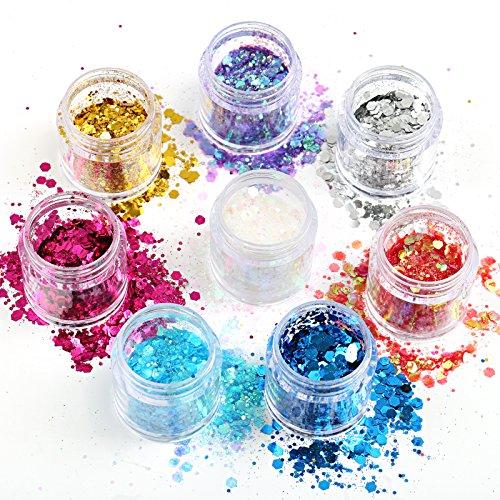 Naler Glitzer Sequin Chunky Glitter für Gesicht Nägel Make-Up Glitzer Kosmetik Glänzendes Paillette für Festival Masquerade Halloween Party Dekoration (8 Döschen, 8 Farben)