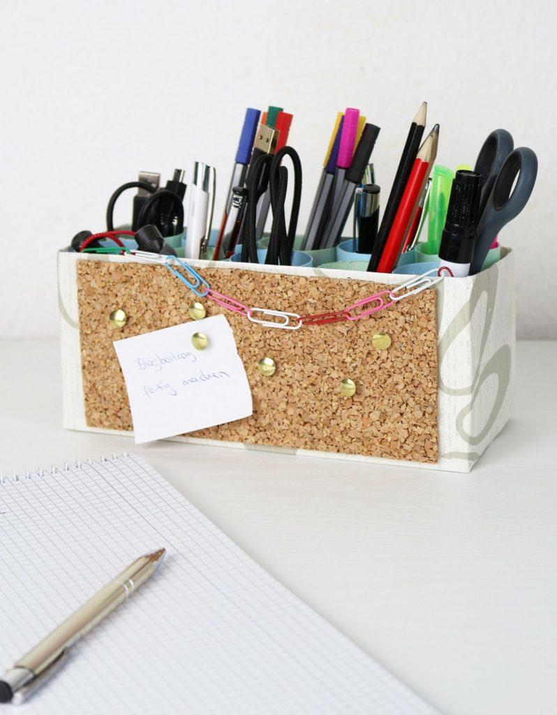 DIY Stiftehalter mit integrierter Pinnwand | DIY Deko | DIY Idee für den Schreibtisch | Stiftehalter