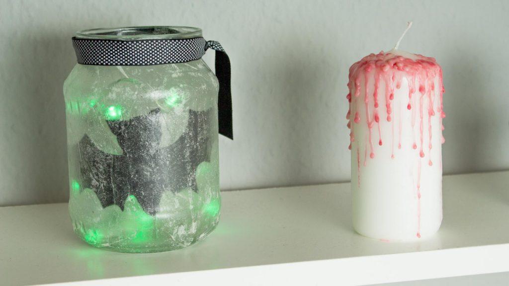 DIY Halloween Deko basteln: Fledermaus-Windlicht + blutige Kerze