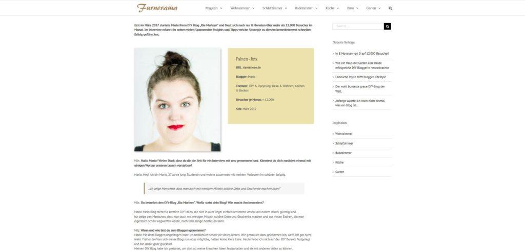 Interview vom DIY Blog Ria Marleen auf Furnerama
