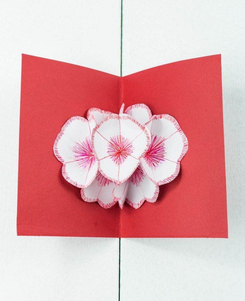 3D Pop Up Blumenkarte basteln - schönes DIY Geschenk aus Papier - Muttertag, Valentinstag
