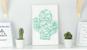 DIY Kaktus Fadenbild selber machen