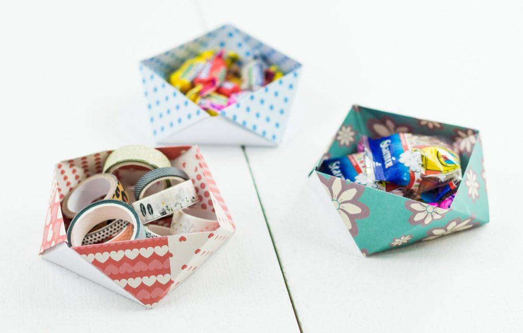 DIY Origami Aufbewahrungsbox basteln - ohne Kleber und mit nur einem Blatt Papier! Schöne Deko und Aufbewahrungsmöglichkeit für zahlreiche Kleinigkeiten ... Basteln mit Papier