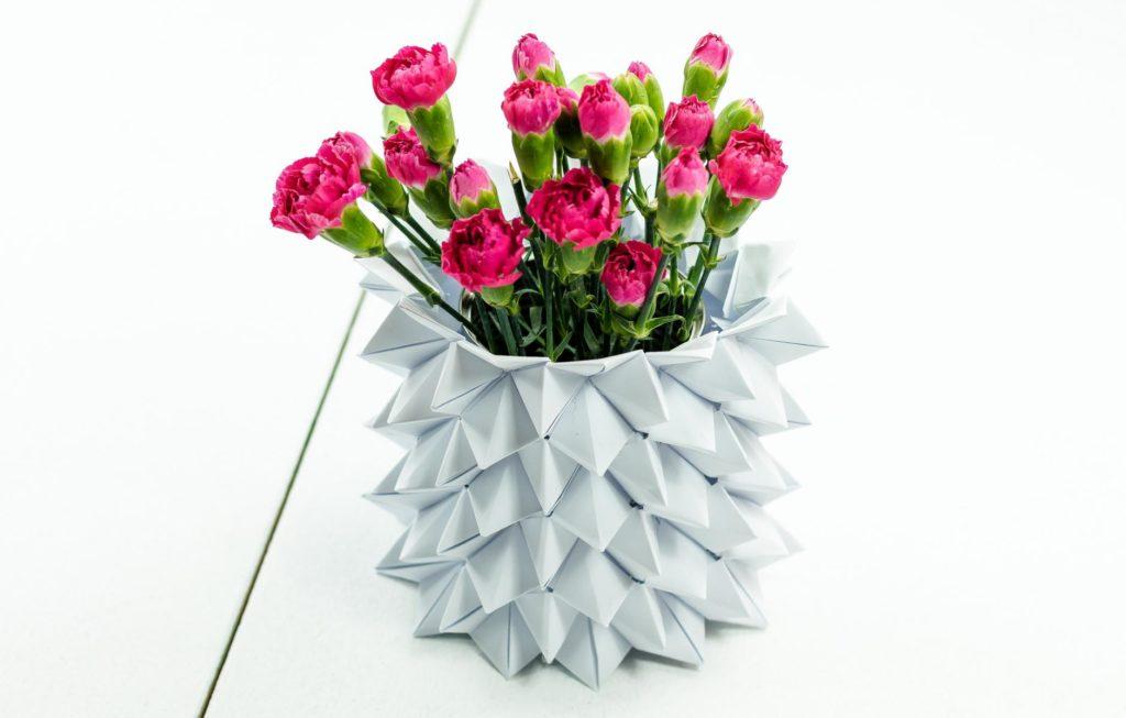 DIY Origami Vase basteln – Himmel Hölle Vase
