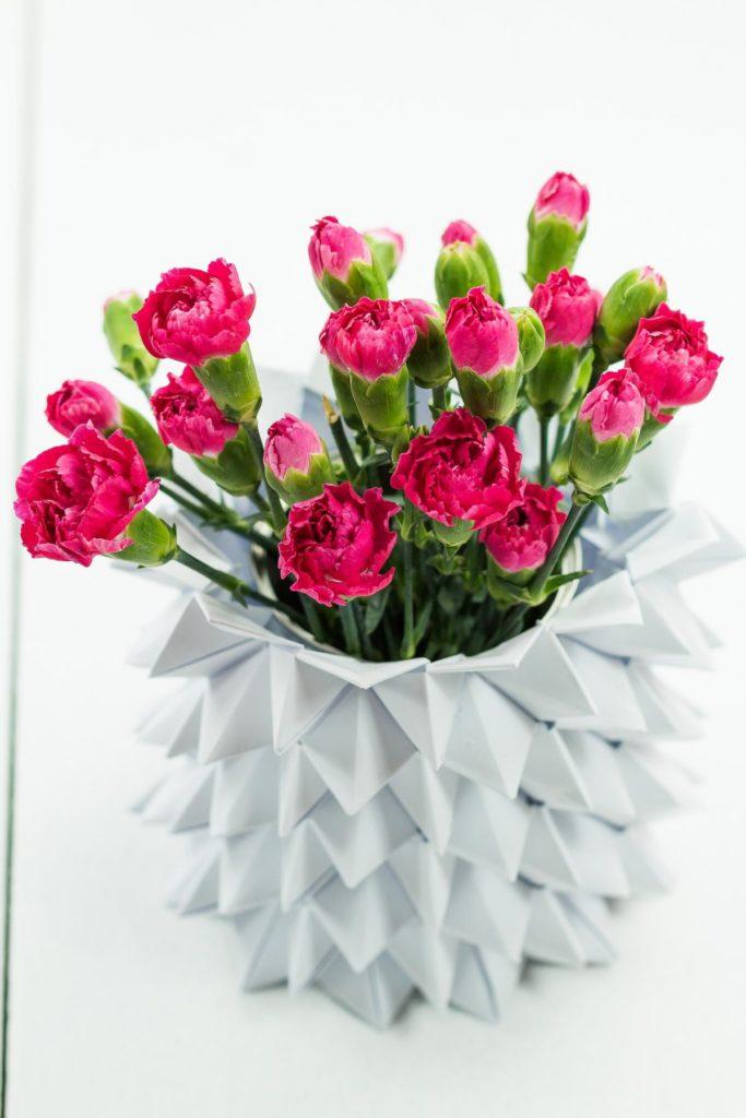 DIY Origami Vase aus Papier basteln - DIY Himmel Hölle Vase - wunderschöne Deko, schönes Geschenk und ein echter Hingucker in der Wohnung