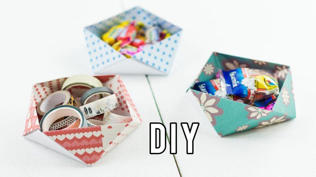 DIY Origami Aufbewahrungsbox basteln - ohne Kleber