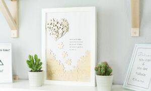 DIY Puzzle Herz Wandbild basteln – tolle Geschenkidee
