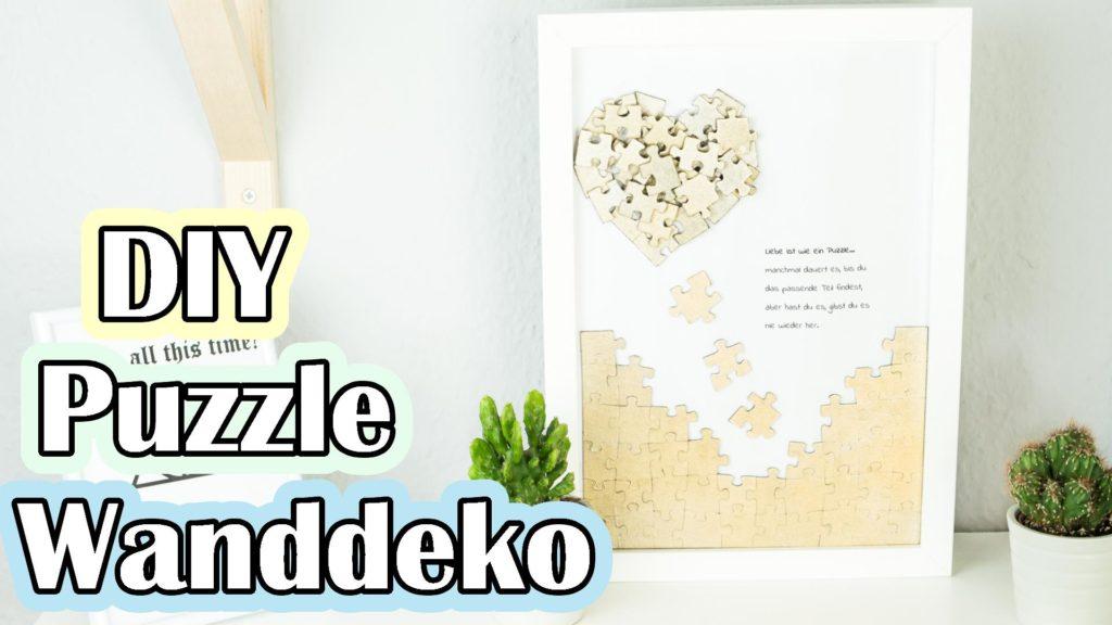 Puzzle Herz Wanddeko basteln