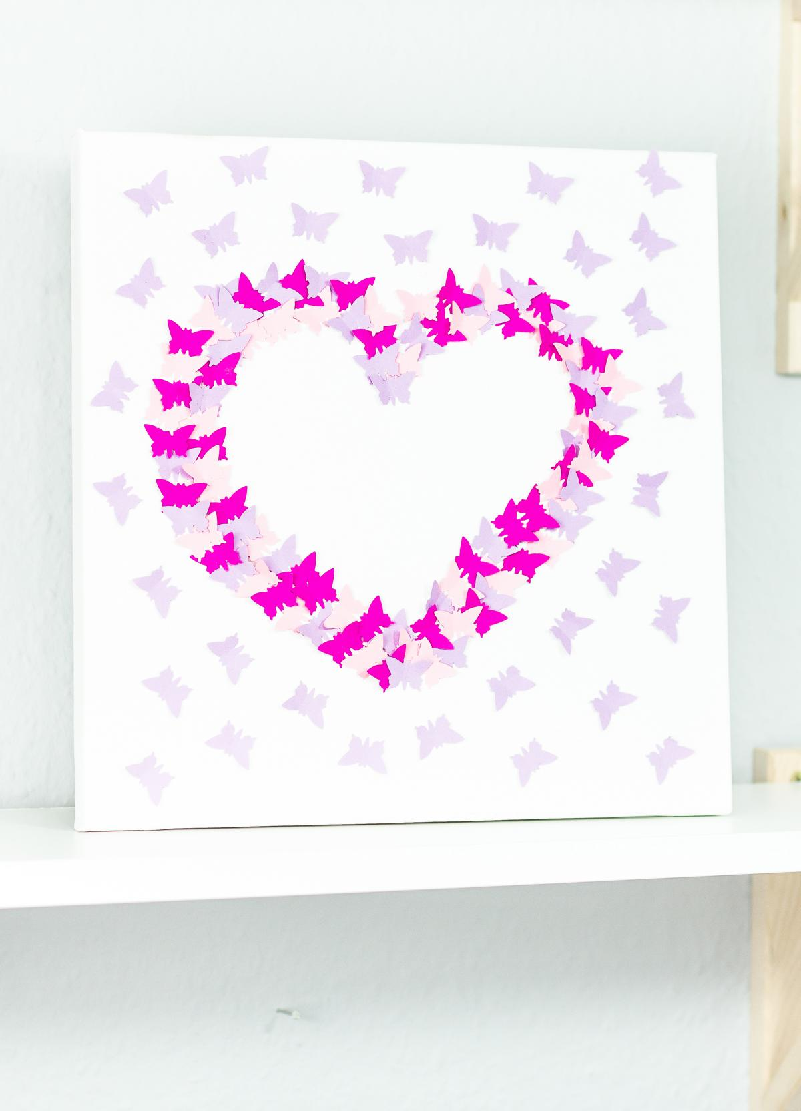 3D Wandbild mit Schmetterlingen basteln - schöne Deko- und Geschenkidee