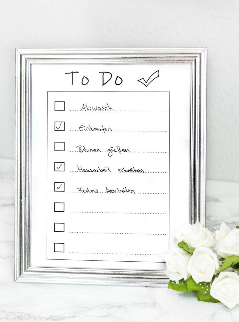 DIY Idee: Wiederbeschreibbare To Do Liste basteln
