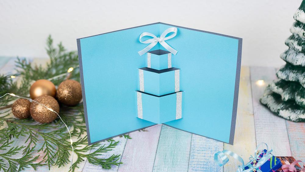 Pop Up Weihnachtskarte Geschenk, blau