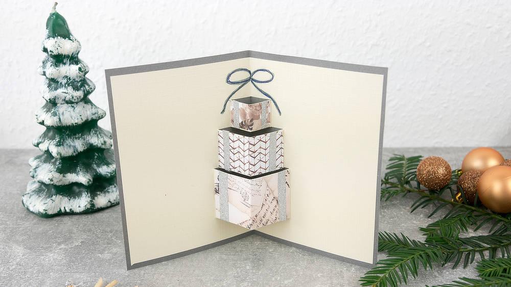 Pop Up Weihnachtskarte Geschenk grau - beige