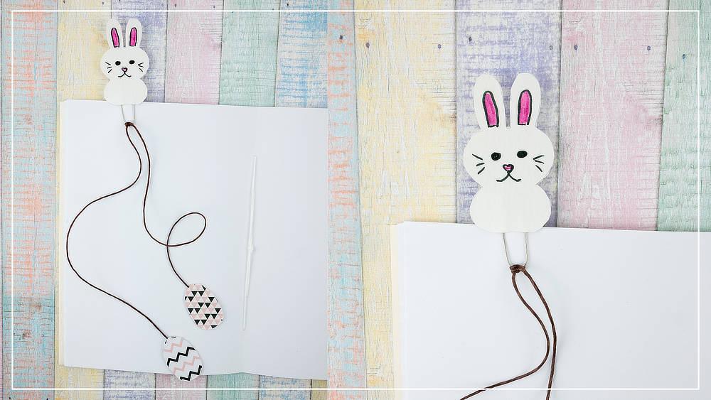 Lesezeichen mit Osterhasen Motiv aus Papier