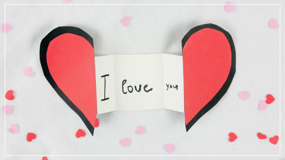 Herzkarte mit Botschaft