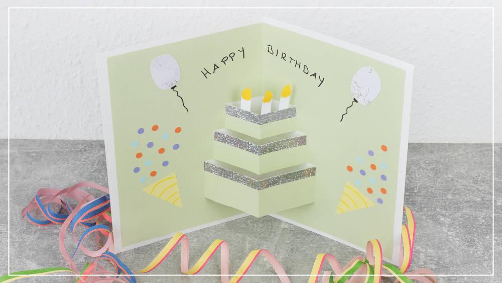 Pop Up Geburtstagskarte mit Torte